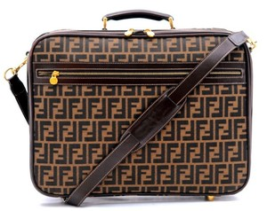 Fendi Brass Accents Keys Made In Italy Large Interior Monogrammed Case Brown and Black with Gold Travel Bag
