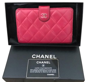 Chanel authentic grt chanel classic quilted frnech wallet red lambskin