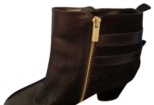 Kenneth Cole Leather Bootie Chunky Heel Black Boots