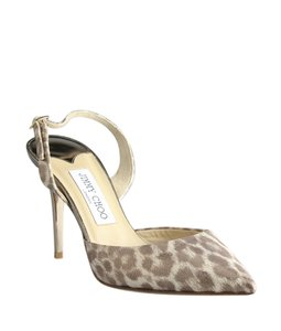 Jimmy Choo Leopard Cheetah Fabric Slingback Tan,Gold Pumps