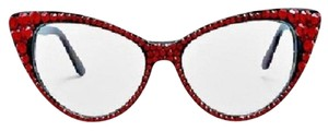 Other Office Glam Red Rhinestone Crystal Cat Eyes Sun Glasses