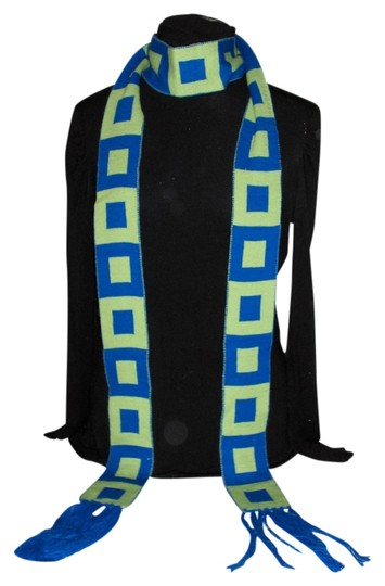 No Boundaries Green and Blue Geometric Squares scarf with Fringe
