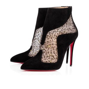Christian Louboutin Leopard Embellished Pointed Toe Mesh Black Boots