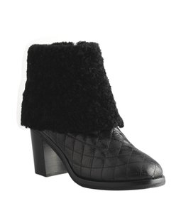 Chanel Quilted Leather Shearling Fur Black Boots