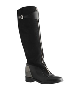 Christian Louboutin Leather Suede Knee High Riding Louboutin Black Boots