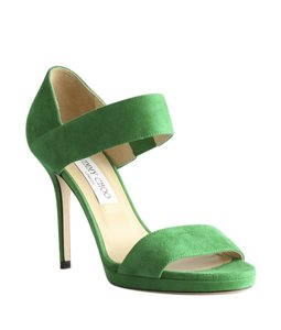 Jimmy Choo Geren Suede Green Sandals