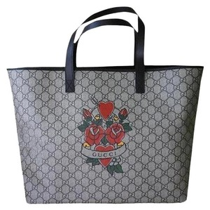 Gucci Canvas Roseheart Handbag Tote in Browns
