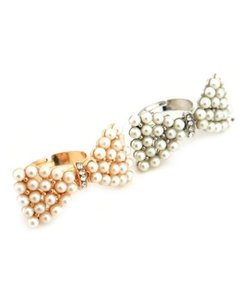 Other 2 Bow Butterfly Rhinestones Pearl Gold & Silver Adjustable Ring