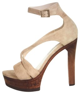 Jimmy Choo Sandals Wood Heels Strap Heels Beige Platforms