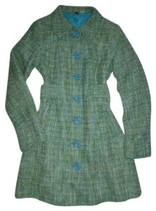 9a1d7565cf Divided by H M Green Teal Boucle Tweed M Coat Size 10 (M) - Tradesy