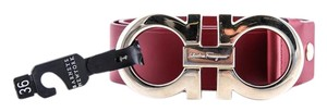Salvatore Ferragamo Red Wide Leather Gancini Belt