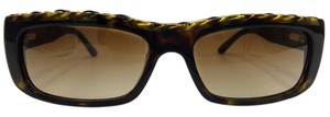 Chanel Brown Leather Gold Chain Link Square Chanel Sunglasses 5139-Q c.714/13