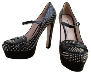 Miu Miu Studded Mary Jane Black Platforms