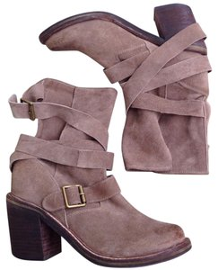 Jeffrey Campbell Strappy Western Suede Tan Boots