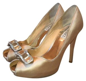 Badgley Mischka Peep Toe Jeweled Nude Formal