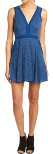 Free People short dress Blue Lace Cocktail Floral Embroidered Bohemian Chic Classy Lovely Formal Holiday Flare on Tradesy