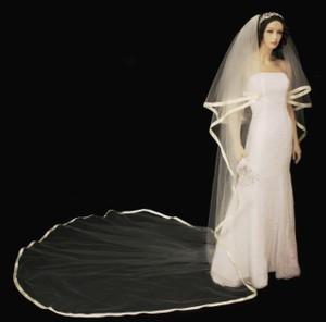 Royal Cathedral Length Ribbon Edge Two Layer Wedding Veil