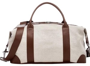 Isaia Cream Linen and Brown Leather Travel Bag