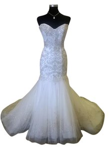 Casablanca Ivory/Gold Sash/Silver Beaded and Embroidered Tulle Over Satin Lining 2138 Vintage Wedding Dress Size 10 (M)