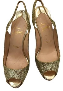 Christian Louboutin Louboutin Slingback No Prive Gold Pumps