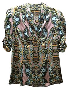 Etcetera Rouched Silk Pattern Top Multi