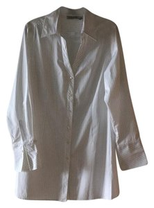 Farinaz Taghavi Button Down Shirt Slightly Shimmery White with thin pin stripes