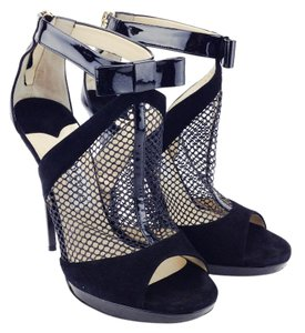 Jimmy Choo Mesh Open Toe Patent Suede Bow Black Sandals
