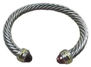 David Yurman 7mm silver & 18k gold Cable classic with morganite