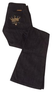 Juicy Couture Denim Gold Accents Flare Leg Jeans-Dark Rinse