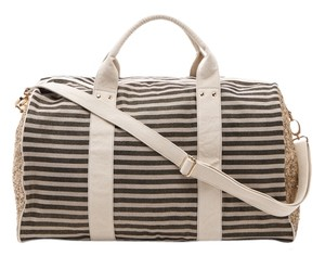 deux lux Weekender Grey & Creamy Stripes with Gold Sparkles Travel Bag