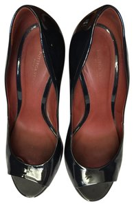 Bottega Veneta Patent Lether Open Toe Blue Navy Pumps
