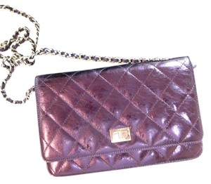 bb400f125b9f Chanel Wallet on Chain Rare Metallic Purple Leather Cross Body Bag ...