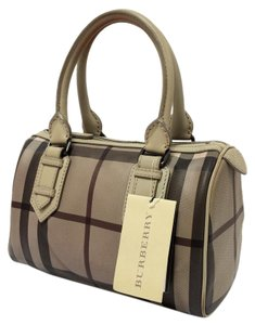 Burberry Check Chester Small Pvc Satchel in Smoked Trench Gray