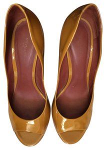 Bottega Veneta Bottega Patent Lether Open Toe Mustard / Yellow Pumps