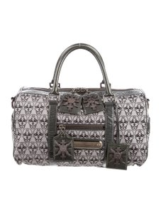 Thomas Wylde Leather Skull Metal Hardware Satchel in Grey and Black
