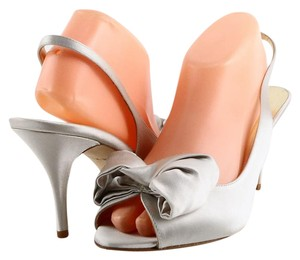 Kate Spade Wedding Prom Grey Satin Dove Grey Sandals