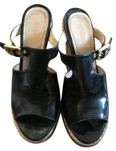Fendi Patent Leather Black Wedges