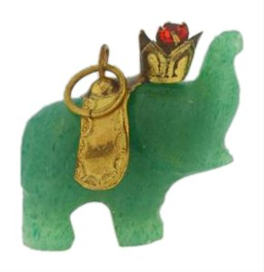 Other Vintage Hand Carved Jade Elephant Charm Pendant- 14k Yellow Gold