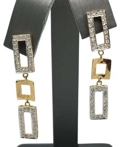 Other 14K Yellow Gold Rectangular Shape Natural Diamonds Dangle Earrings
