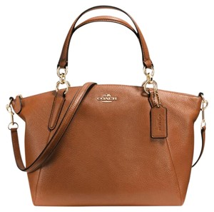 Coach Kelsey Pebbled Leather Crossbody Brown Satchel in Saddle Brown