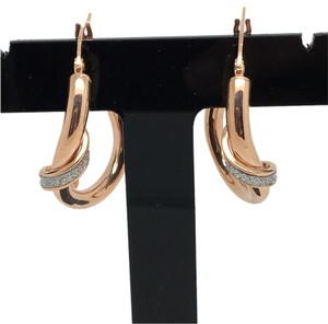 Other 18K Rose Gold and White Gold Matte Hoop Earrings