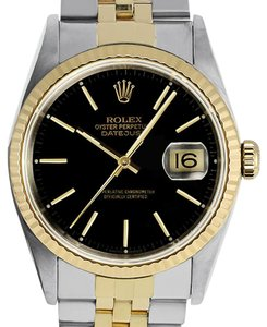 Rolex Rolex 16233 Datejust Two Tone Black Dial Watch