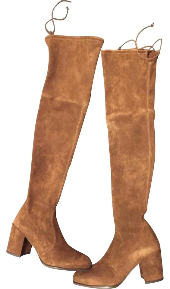 9e4ea086369 Stuart Weitzman Suede Tieland Over The Knee Walnut Brown Boots Image 0 ...