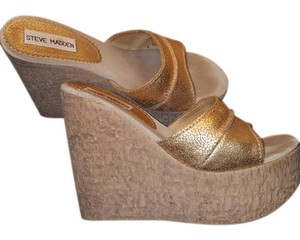 Steve Madden Wedge Gold Leather Gold, Cork Wedges