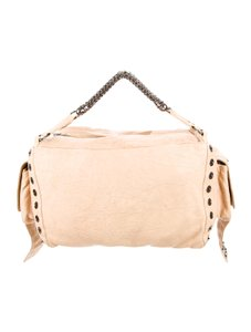 Thomas Wylde Leather Studded Hardware Duffle Satchel in cream