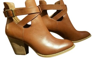 Reba Luggage Leather Tan Ankle Strap Western Hot Cognac Boots