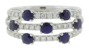 Other Triple Sapphire And Diamond Ring-14k White Gold