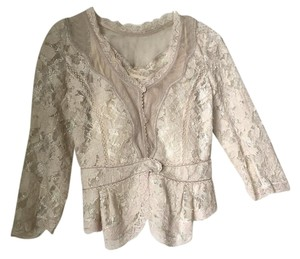Y and Kei Linen Beaded Embroidered Embellished Top Creamy White Lace