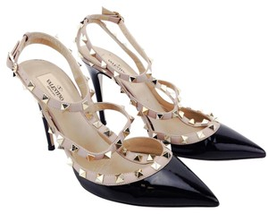 Valentino Patent Leather Rockstud Pointy Toe Black and Nude Pumps