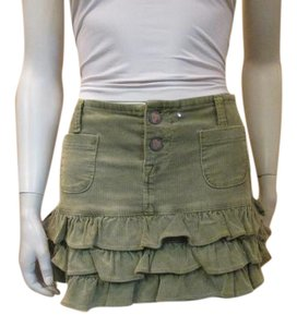 Betsey Johnson Micro-mini Corduroy Mini Skirt Green